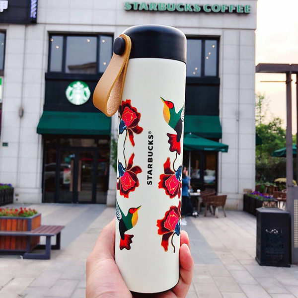 Nouveau Starbucks Birds'twitter et le parfum des fleurs Ventouse en acier inoxydable Scène de ressort en coupe sport dooor café Tumbler 473ml