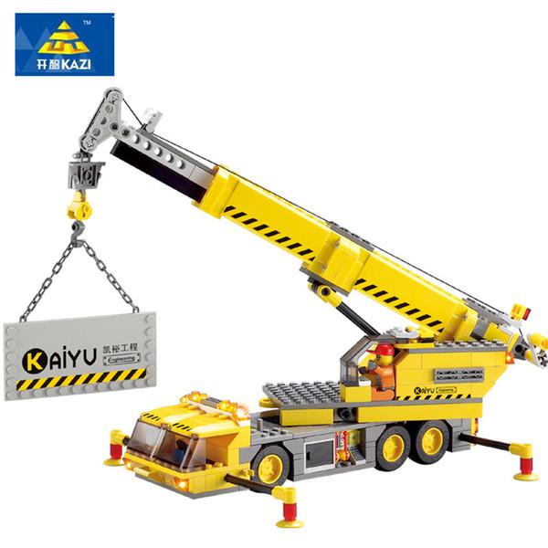 KAZI 380 unids City Crane Series Bloques de Construcción Modelo DIY Bloques Educativos Juguetes Educativos de Aprendizaje Ladrillos Regalos para Niños