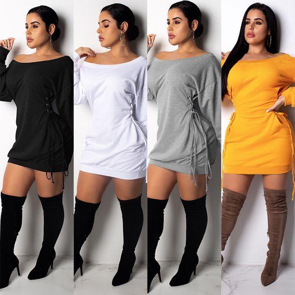 top popular Fall Bandage Dress Women Brand Slash Neck Long Sleeve Bandage Dress Off shoulder drawstring Elegant Night Party Dress Vestidos LJJA3109 2019