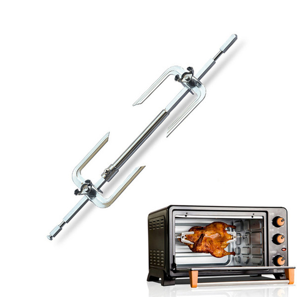 Stainless Steel BBQ Metal Oven Roasted Beef Turkey Rotisserie Forks Spit Charcoal Chicken Grill For Camping Cooking Tools