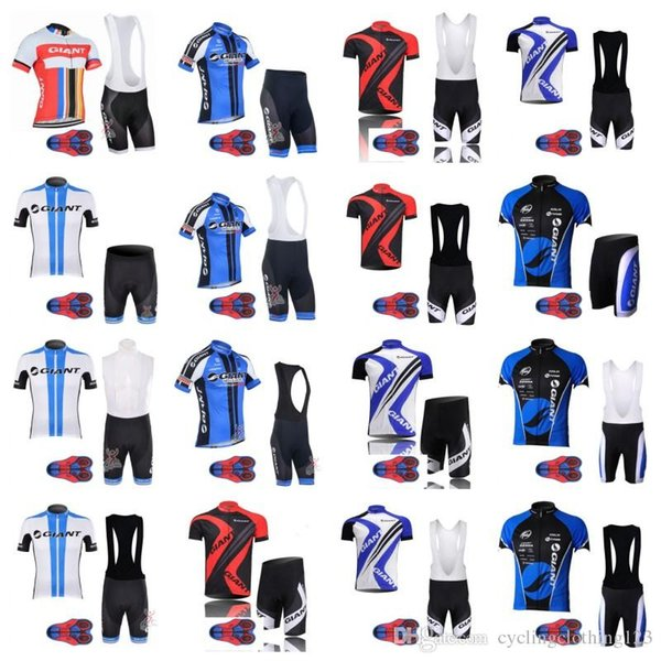 GIANT team Cycling Short Sleeves jersey bib shorts sets 9D gel pad riding bike Summer breathable wear clothing ropa ciclismo A50501