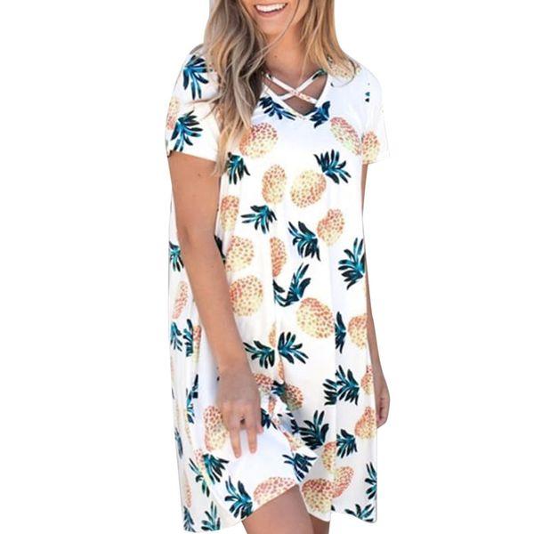 Платье женская повседневная повязка ананас печати V-образным вырезом с коротким рукавом мини карманное платье Feitong мода sexy Straight new 2019