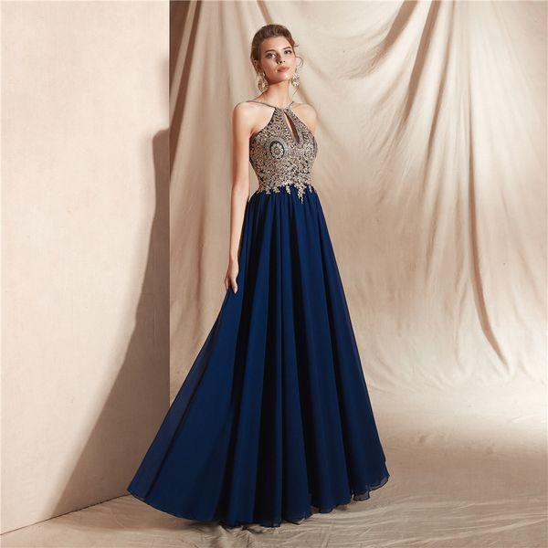 Kristalle Perlen Halfter Tiered A Linie bodenlangen Chiffon lange Quinceanera Prom Party Abendkleid Anlass nach Maß Plus Size Kleider