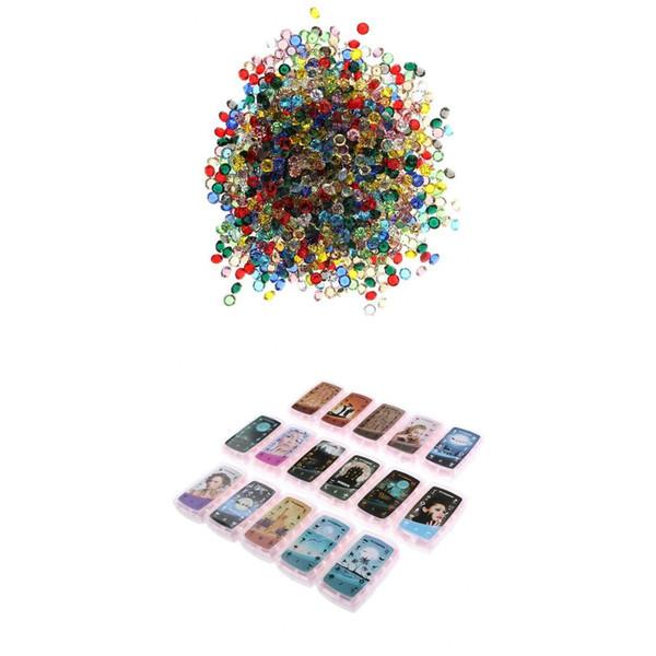 192Pcs 3D Nail Art Moldes Stamper Stencil Kit 1500Pcs Cristales de diamantes de imitación