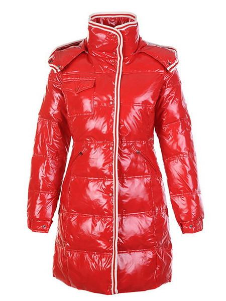 Marca de ropa de moda francesa Mujer Chaqueta Larga de Invierno Abajo Para Mujer Abrigos Femeninos Delgados Espesar Parka Abajo Abrigo Con Capucha Parkas