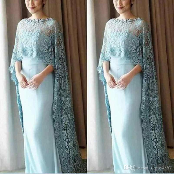 2019 New Light Blue Lace Cape Style Mother Of The Bride Dresses Chiffon Floor Length Prom Dress Custom Made Evening Gowns Vestidos