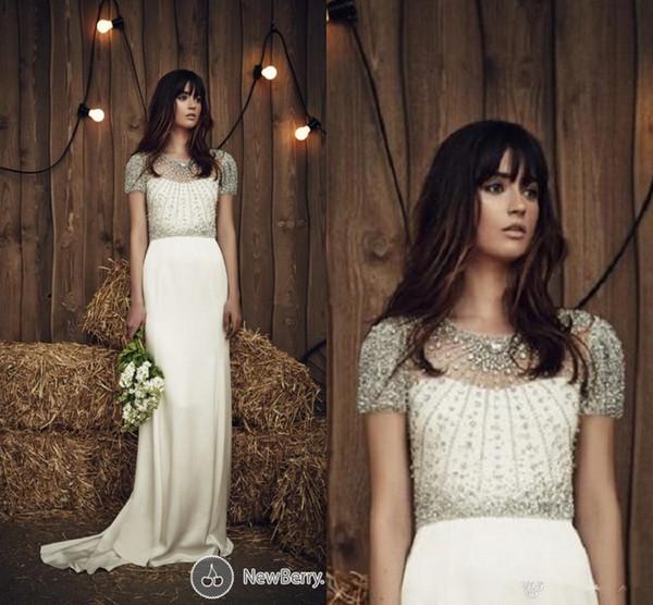 Jenny Packham 2020 vestidos de boda de la envoltura de la vendimia con los cristales de manga corta con cuello redondo de Vestidos de novia para la boda de la playa de Bohemia de primavera y verano