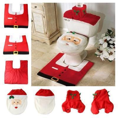 Wholesale-3Pcs / set Heißer Verkauf Weihnachtsdekorationen Happy XMAS Santa Toilettensitzabdeckung und Teppich Badezimmer Set Drop Shipping