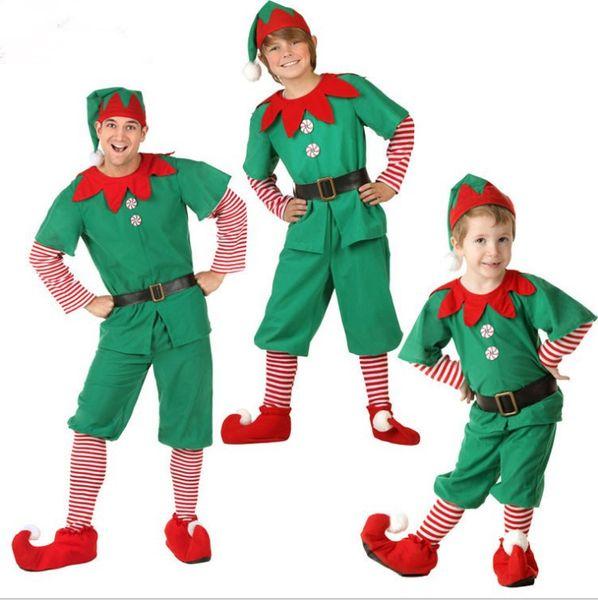 erkek ve kadınlar için Noel elbise çocuklar Noel elfler elbise Cosplay Halloween yeşil Noel elbise