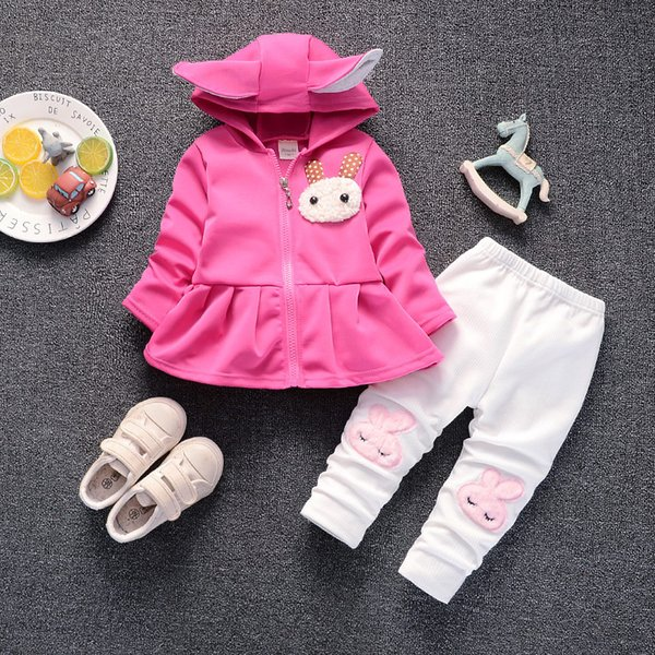 good qulaity baby girl clothes sets spring autumn cartoon rabbit hoodies + pants christmas outfit kids bebes suits tracksuits