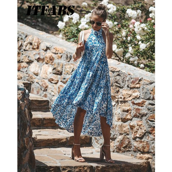 Women Ladies Summer Dress Halter Floral Beach Sundress Boho Evening Party Long Maxi Dresses Fashion