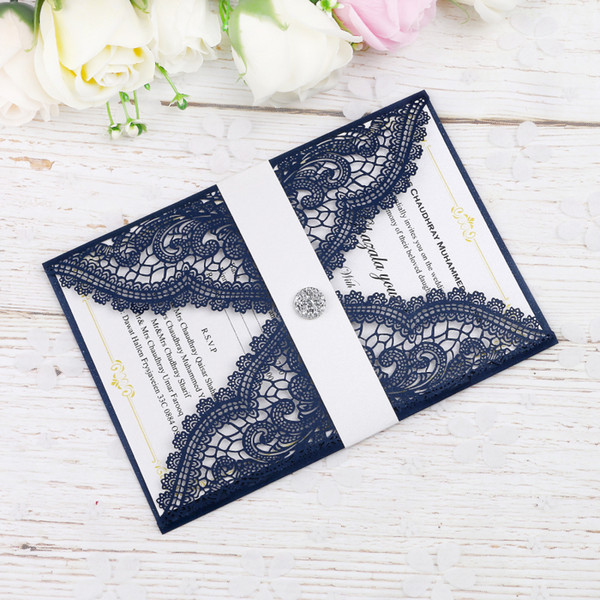 New Elegant Laser Cut Navy Blue Invitations Cards With Crystal on Belt For Wedding Bridal Shower Engagement Birthday Graduation Invite