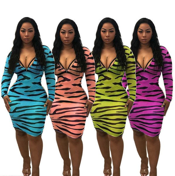 Women summer mini dresses sheath column holiday party dress beachwear sexy skirts long sleeve knee-length striped hot selling 2019 new 852