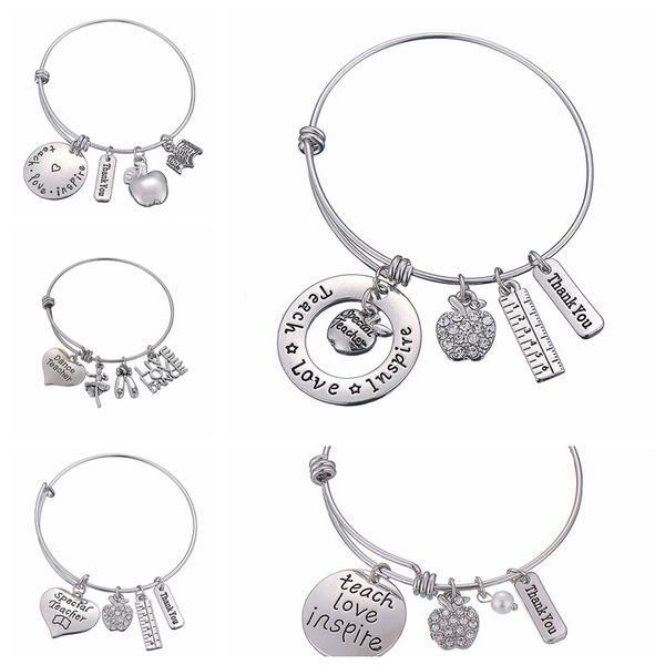 Letters Bracelet Teacher's Day Gift Charms Bangle Love Inspire Teach Bracelets Charm pendant Teacher Jewelry Fashion Accessories GGA2004