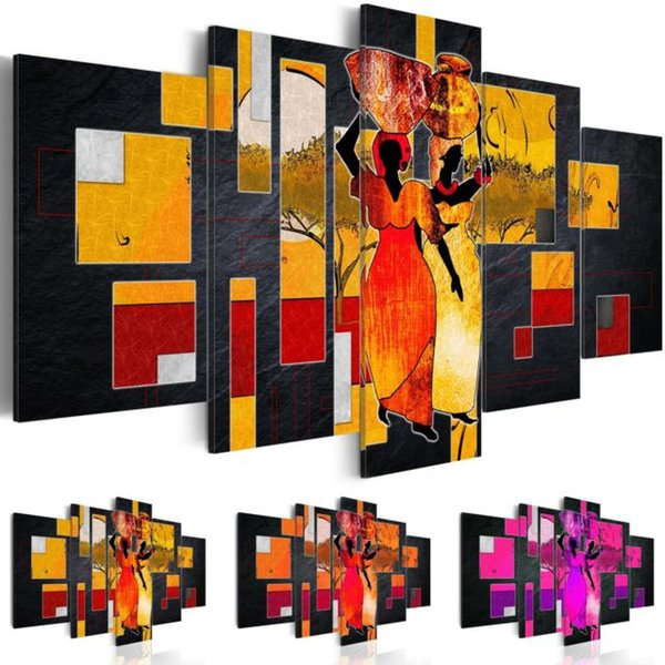 5 Panel Canvas Wall Abstract Donne africane che trasportano acqua Desert Landscape Canvas Painting Frameless Wall Art Painting Living Room Decor, Cho