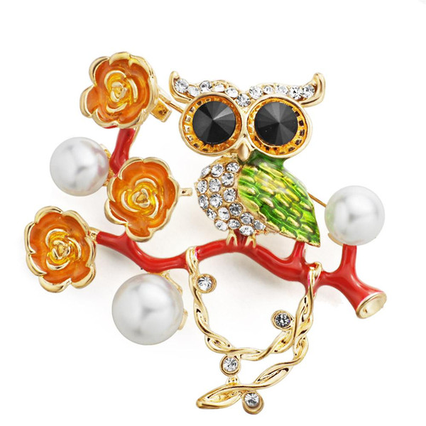 Güzel Emaye Baykuş Çiçekler Broş Pins Kadınlar için Simüle Inciler Rhinestone Kuş Broşlar Dekorasyon Aksesuarları Z061