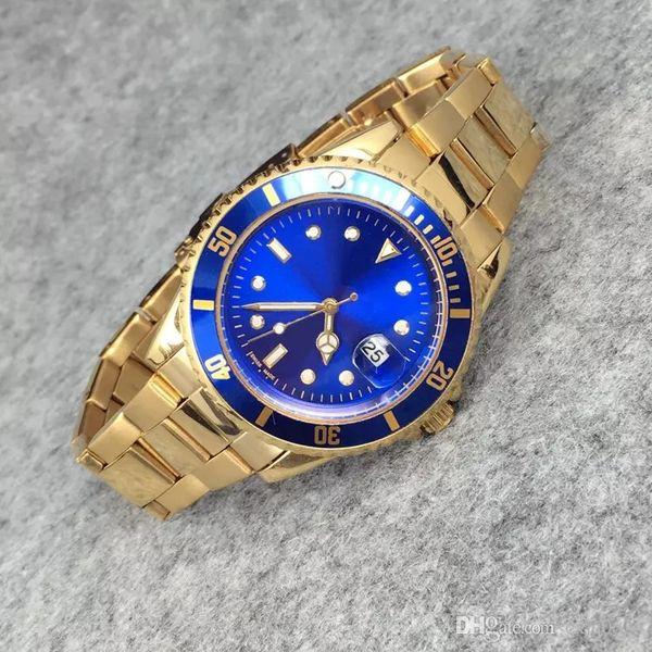 40 MM Reloj militar Reloj relogio masculino relojes de lujo diseñador de moda Negro Dial Calendario Pulsera de oro Broche plegable Maestro Masculino