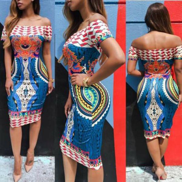 1 컬러 S-XL 캐주얼 여성 오프 숄더 전통적인 아프리카는 드레스 다시 키 저녁 파티 CocktailDress 54194284416527 인쇄하기
