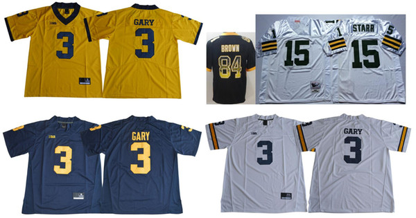 Michigan Wolverines #3 Rashan Gary Mens Vintage College Pittsburgh 84 Antonio Brown 15 Bart Starr Color Rush American Football Team Jerseys