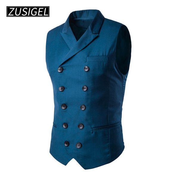 ZUSIGEL Men's Slim Fit Suit Vests V-Neck Formal Business Sleeveless Dress Suit Separate Waistcoat