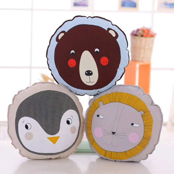 Cute Animals Plush Doll Cotton Lion Penguin Bear Pillow Soft Toys For Children Kids Bedding Sleep Cushion Baby Decoration Room