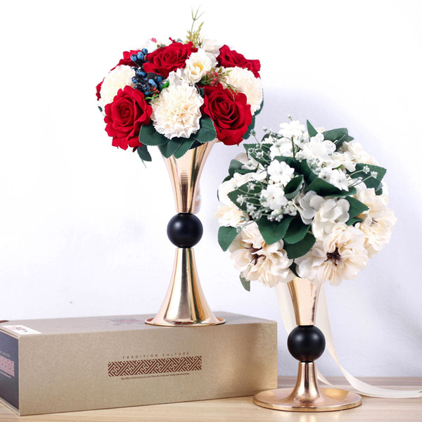Gold Candle Holders Metal Candlestick Flower Vase Table Centerpieces Event Flowers Rack Road Lead Wedding For Home Decoration
