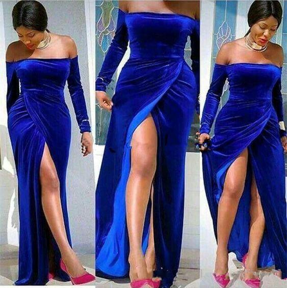 2020 New Sexy Royal Blue Velvet Prom Dresses Strapless Long Sleeves High Split Floor Length Party Quinceanera Plus Size Formal Evening Gowns