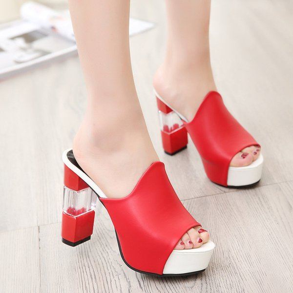 website for discount special section genuine shoes New Summer 2018 Shoes Female Leather Sandals Transparent Platform ...
