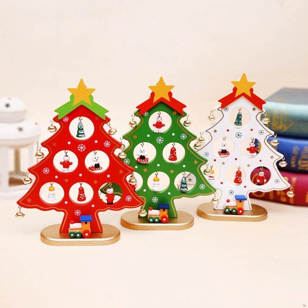 Wooden Christmas Tree Home Decorations for Christmas Red White Green 3colors Ornaments Party Table Decorations free shipping