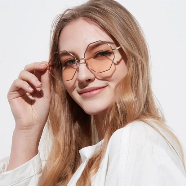 Hot Sale Women Fashion Square Sunglasses Colored transparent Marine lens Sun Glasses Elegant Brand Designer polygon diamond glass men