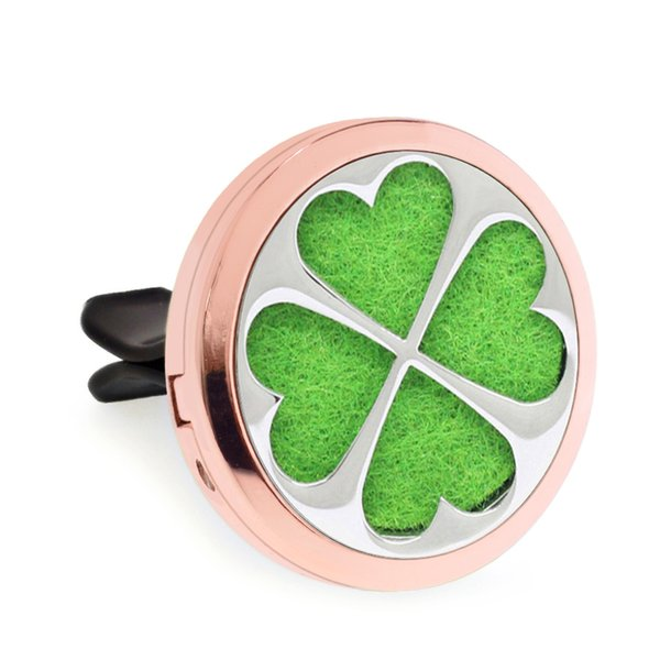 clover rose gold Magnet Open Car Diffuser vent clip 30mm Essential Oil Car Perfume Locket Vent Clip Car air freshener 10pcs free oil pads