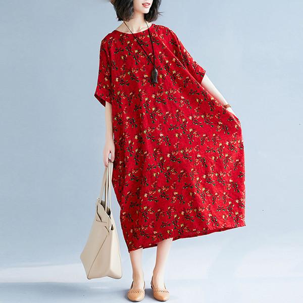 Más tamaño más vestido de las mujeres del verano hembra media pantorrilla Prairie floral elegante de señora Vintage Vestidos flojo grande vestido largo Cloting