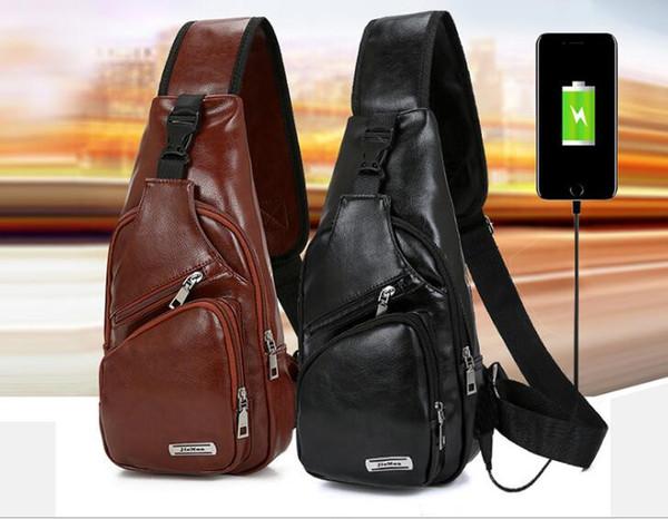 UNISEXs USB-Aufladung aus PU-Leder Brusttasche Umhängetaschen Designer Messenger Schultertasche Brusttasche USB-Reise-Rucksack