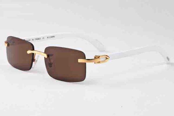 top popular 2020 Fashion Buffalo Horn Man Retro Wood Sunglasses Mens and Womens Black Brown Transparent Lens Frameless Sports Attitude Driving Glass 2021