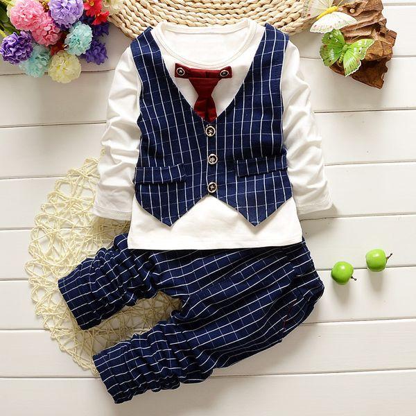 Kids Boys Clothing Sets Spring Gentleman Clothes Suit Long Sleeve Tie Plaid Top + Pants 2 Pics Suits Cotton Kids Clothing Sets