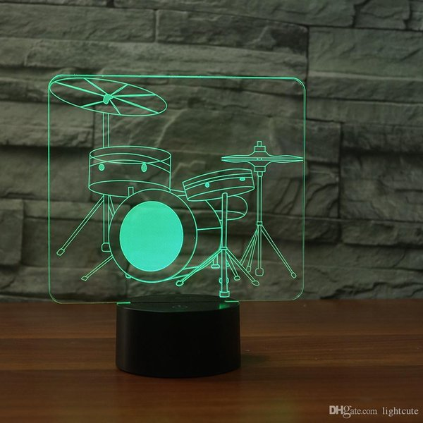 New Drum Kit Champion 3D Illusion Night Light,Touch 7 Color Change,Home Decor Baby Girl Boy LED Lamp Chlid Kids Gift Christmas Xmas Gift