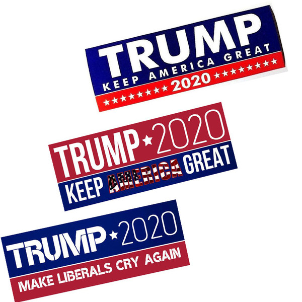 top popular HOT Donald Trump 2020 Car Stickers 7.6*22.9cm Bumper Sticker Keep Make America Great Decal for Car Styling Vehicle Paster 3 New Styles 2019