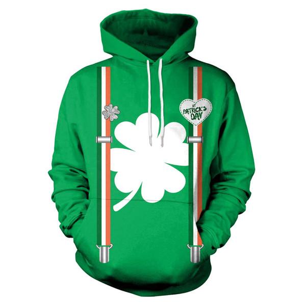 2019 St Patrick'S Day White Shamrocks Print Green Hoodies Men Hoodie With Hat Round Neck Loose Sweatshirt Pullover Streetwear From Crutchline, $24.27 ...