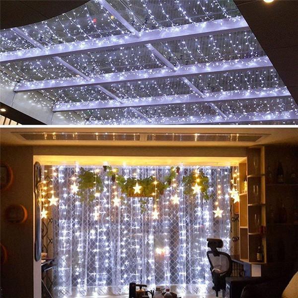 Luci per tende a LED per finestre 144 Luci per tende a ghiacciolo per tende a LED per feste nuziali Bianco 8 modalità Luci da interno per esterno per camera da letto da giardino