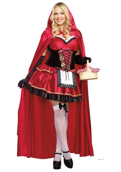 Traje de la capilla Sexy Little Red Riding adulto para las mujeres de Halloween Cuento de hadas de la princesa del vestido de lujo de Cosplay Mujer + Capa