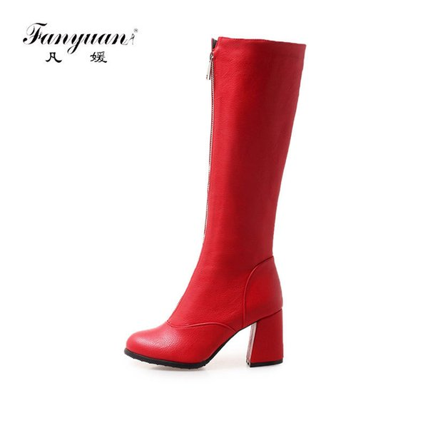 Fanyuan Women Knee High Motorcycle Boots zipper Decoration Square high heel Knee high boots Female Shoes Zipper Boots size 46