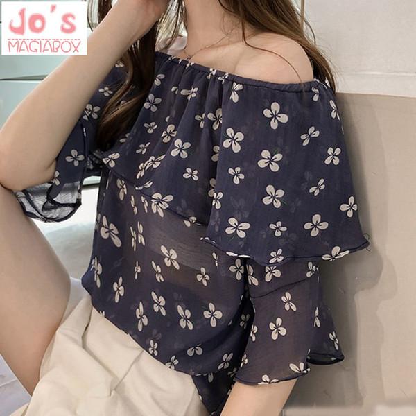 Sommer-koreanische Druck-Blumen-Frauen-Chiffon- Oberseiten und Blusen-Damen-beiläufige halbe Hülsen-Schrägstrich-Ansatz-Rüsche-Hemden Blusas Mujer