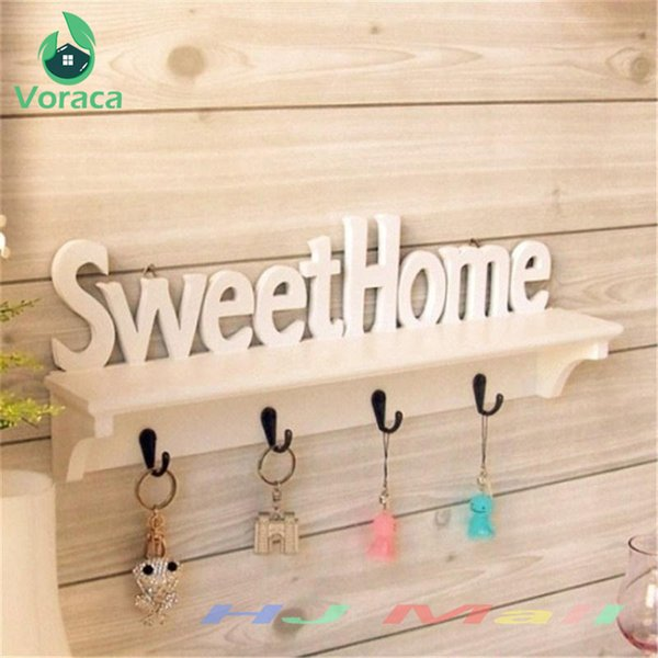 "1pc ""sweet Home"" Shelves Hat Key Holders 4 Hooks Storage Shelf Hanging Hooks Wall Mounted Rack Home Holder Storage Hanger Home SH190709"
