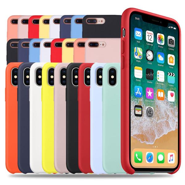 Funda de silicona original de lujo para iPhone 7 8 Plus para iPhone 6 6S Plus X XS MAX XR 7 8 con LOGO Funda de teléfono líquido con caja al por menor