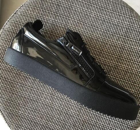 Nouveau Mens Femmes Blanc Motif De Pierre En Cuir Véritable Bas Haut Double Zip Sneakers, Marque Designer Casual Shoes 35-47 Livraison Gratuite