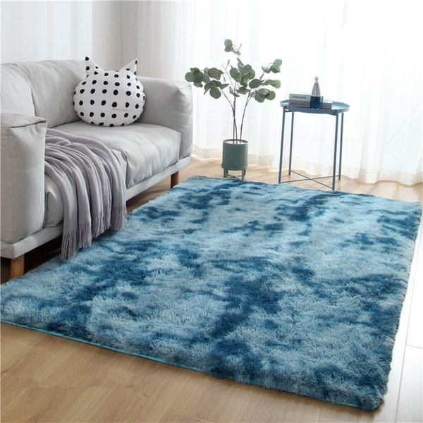 Tappeto variegato tie-dye gradiente soggiorno tavolino tappetino tappeto capelli lunghi Tappeto nordico moderno camera da letto tappeto morbido e confortevole