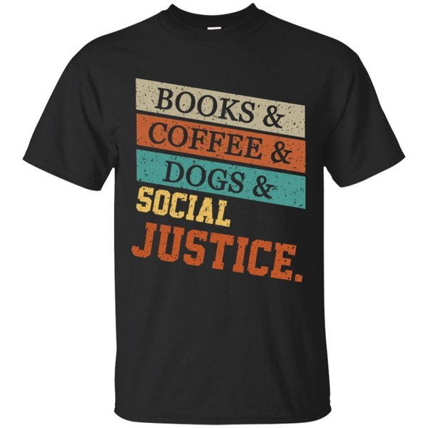 Black T shirt Books And Coffee And Dogs Social Justice Vintage Tshirtsize S-cattt windbreaker Pug tshirt