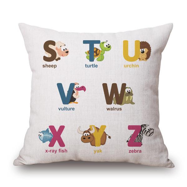 English Letter Cushion Cartoon Animal Letter Pillow