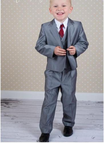 Niños de color gris plateado Ocasiones formalesMetines Muesca Solapa Un botón Niños Boda Esmoquin Traje de niño Ropa de vacaciones (Chaqueta + Pantalones + Corbata + Chaleco) 63
