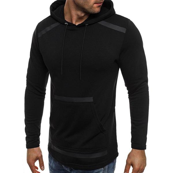 2018 Muscle Slim Fit de manga larga de la nueva manera de los hombres de otoño con capucha con el sombrero de bolsillo Outwear Sólido